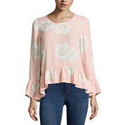 a.n.a Long Sleeve Crew Neck Woven Blouse-Petites