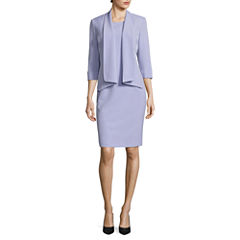 Black Label by Evan-Picone ¾ Sleeve Open-Front Jacket with Sleeveless Sheath Dress