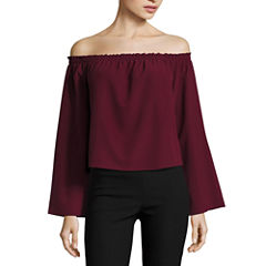 Fire Long Sleeve Woven Blouse-Juniors