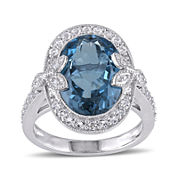 Genuine London Blue Topaz, White Topaz and Diamond-Accent Ring
