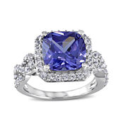 Cushion-Cut Genuine Tanzanite and Lab-Created White Sapphire Ring