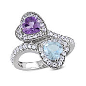 Genuine Amethyst and Sky Blue Topaz Double Heart Ring