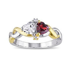 Genuine Garnet and Lab-Created White Sapphire Double Heart Ring