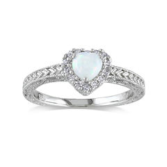 Heart-Shaped Genuine Opal and 1/7 CT. T.W. Diamond Sterling Silver Ring
