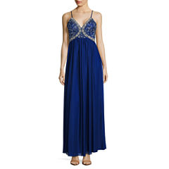 My Michelle Sleeveless Beaded Evening Gown-Juniors