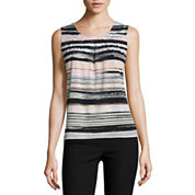 Black Label by Evan-Picone Sleeveless Crew Neck Jersey Blouse