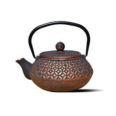 Old Dutch 23 Oz Black and Copper Cast Iron Amai Teapot