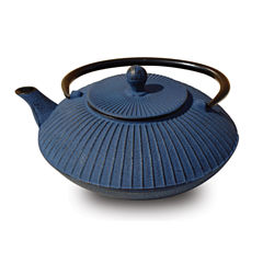 Old Dutch 27 Oz Blue Cast Iron Fidelity Teapot
