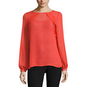 Worthington Long Sleeve Ruffle Yoke Blouse