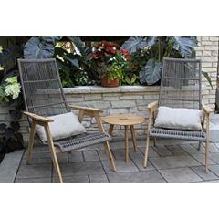 Outdoor Interiors Teak and Wicker Basket LoungingSet with Teak Table