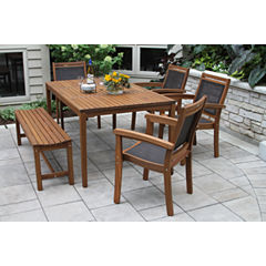 Outdoor Interiors 6pc Eucalyptus and Sling DiningSet with Arm Chair and Bench