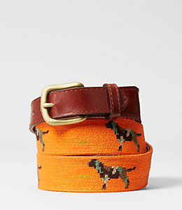 Needlepoint Camo Retriver Belt