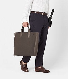 Kahn Wool Leather Tote