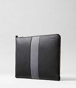 Striped Barrow Leather Large Full Zip Portfolio