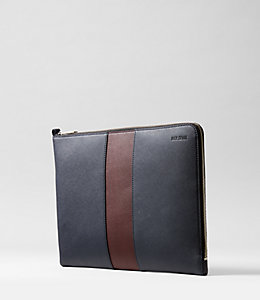Striped Barrow Leather Large Full Zip Portfolio