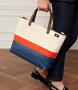Industrial Canvas Horizonal Stripe Coal Bag