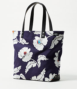 Industrial Canvas Poppy Floral Tote