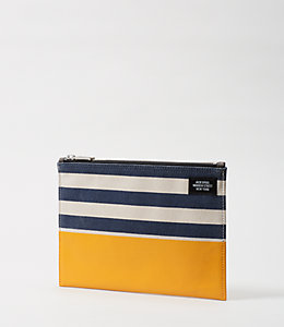 Industrial Canvas Stripes and Dipped Cord Pouch