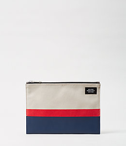 Industrial Canvas Horizontal Stripe Cord Pouch