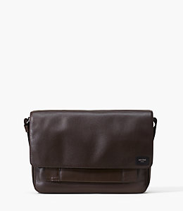 Pebbled Leather Zip Messenger