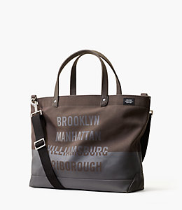 NY Bridge Dipped Canvas Coal Bag