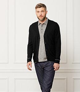 Tipped Cardigan Sweater