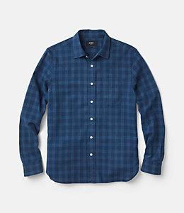 Grant Indigo Plaid Point Collar Shirt