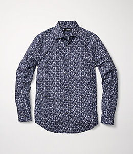 Grant Paris Rose Print Point Collar Shirt