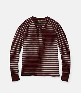 Caine Striped Waffle Henley