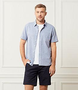 Clift Short Sleeve Fine Stripe Point Collar