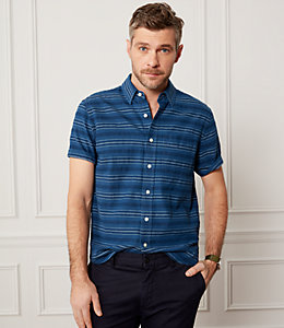Indigo Stripe Short Sleeve Dobby Shirt