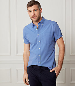 Micro Check Short Sleeve Poplin Shirt