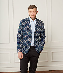 Unstructured Floral Tile Blazer
