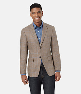 Warren Fit Silk Windowpane Herringbone Sport Coat