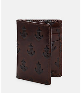 Embossed Anchor Vertical Flap Wallet