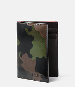 Camo Leather Vertical Flap Wallet