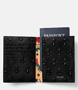 Embossed Anchor Passport Wallet