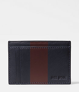 Striped Barrow Leather Id Wallet