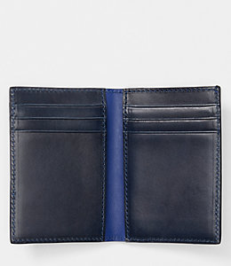 Dipped Leather Vertical Flap Wallet