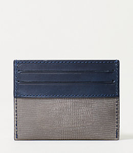 Lizard Embossed Nubuck 6 Card Holder