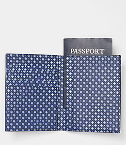Mosaic Tile Barrow Leather Passport Wallet