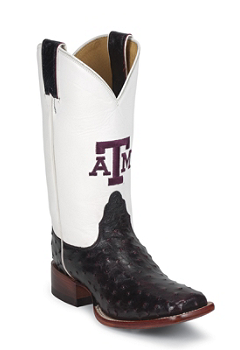 TEXAS A&M BLACK CHERRY FQ OSTRICH TEXAS A & M LOGO CENTERED ON FRONT QUARTER,DOUBLE STITCHED WELT,HANDCRAFTED IN THE USA