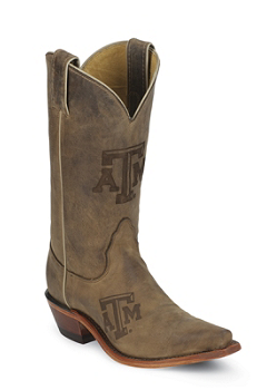 TEXAS A & M BROWN COWHIDE BRANDED TEXAS A & M LOGO CENTERED ON FRONT QUARTER,SINGLE STITCHED WELT,HANDCRAFTED IN THE USA