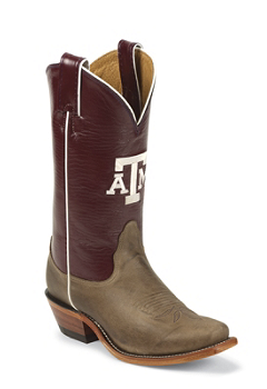 TEXAS A&M TAN VINTAGE COW TEXAS A & M LOGO CENTERED ON FRONT QUARTER,SINGLE STITCHED WELT,HANDCRAFTED IN THE UA