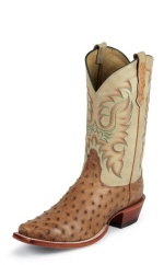 COGNAC WAXY FULL QUILL OSTRICH DOUBLE STITCHED WELT,HANDCRAFTED IN THE USA