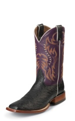 BLACK SMOOTH OSTRICH DOUBLE STITCHED WELT,HANDCRAFTED IN THE USA