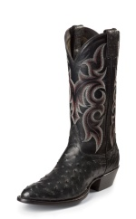 BLACK FULL QUILL OSTRICH SINGLE STITCHED WELT,HANDCRAFTED IN THE USA