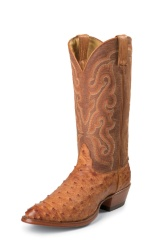 COGNAC VINTAGE FULL QUILL OSTRICH SINGLE STITCHED WELT,HANDCRAFTED IN THE USA