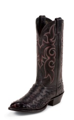 BLACK CHERRY B/O FULL QUILL OSTRICH SINGLE STITCHED WELT,HANDCRAFTED IN THE USA