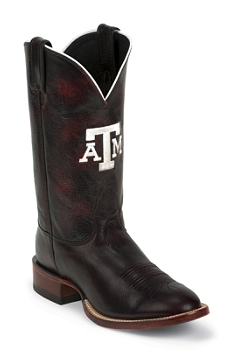 TEXAS A&M BLK CHERRY B/O GOAT TEXAS A & M LOGO CENTERED ON FRONT QUARTER,SINGLE STITCHED WELT,HANDCRAFTED IN THE USA